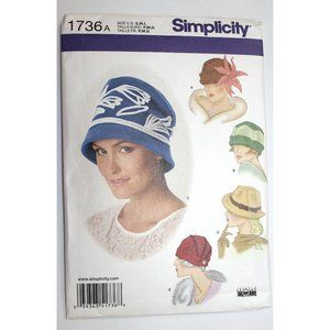 UNCUT Simplicity 1736 sewing pattern for 5 HATS